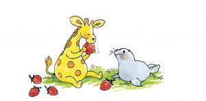 Giraf en Joepy in Bobbi lente, zomer, herfst, winter